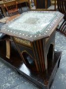 TWO ISLAMIC TABLES INLAID WITH MOTHER OF PEARL TOGETHER WITH A LARGER HARDWOOD OCTAGONAL TABLE