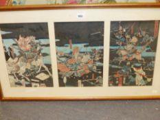 ATTRIBUTED TO UTUGAWA YOSHICHIKA (FL. 1850-1868), A JAPANESE WOODBLOCK PRINT TRIPTYCH BATTLE SCENE