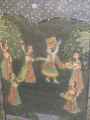 AN INDIAN PAINTING ON GREY SILK DEPICTING RAMA AND SITA DANCING IN A GLADE TO A BAND OF FOUR LADIES.