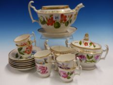 AN EARLY 19th C. BOTANICAL PART TEA SERVICE EACH PIECE PAINTED WITH FLOWER SPECIMENS, COMPRISING SIX