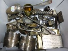 AN OLD ENGLISH PATTERN SILVER TABLE SPOON BY WB, LONDON 1815 TOGETHER WITH OTHER METAL WORK.