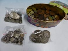 A COLLECTION OF BRITISH LATE 19th C. TO CURRENT COINS TO INCLUDE PRE 1920 SHILLINGS TO CROWNS.