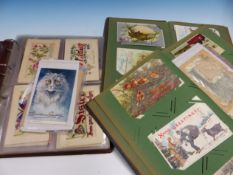 THREE ALBUMS OF POSTCARDS TO CELEBRATE BIG DAYS OF THE YEAR TO INCLUDE VALENTINES DAY, CHRISTMAS,