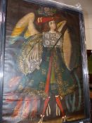 A DECORATIVE PORTRAIT OF THE ARCHANGEL IN THE CUZCO MANNER, OIL ON CANVAS. 84 x 58cms.