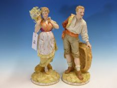 A PAIR OF 19th.C.PORCELAIN FIGURINES OF A GENTLEMAN WITH BASKET AND LADY WITH FLOWER BASKET ON HER