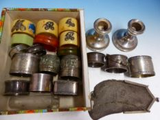 A COLLECTION OF VICTORIAN AND LATER SILVER AND OTHER NAPKIN RINGS, A SILVER MESH PURSE, PLATED