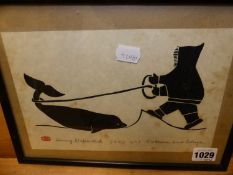 HENRY NAPARTUK. (1932-1985) FOUR SCENES OF INUIT HUNTING AND FISHING, PENCIL SIGNED AND TITLED