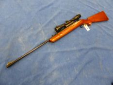 A BSA AIRSPORTER AIR RIFLE SERIAL NUMBER CT42938 WITH BUSHNELL 4 X 32 SCOPE.