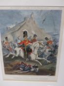 AN ANTIQUE HAND COLOURED MILITARY PRINT AFTER W.HEATH, 2nd.ROYAL NORTH BRITISH DRAGOONS. 32 x 23.