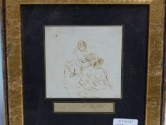 WILLIAM POWELL FRITH. (1819-1909) THREE SKETCHES OF VARIOUS FIGURES, SOME INSCRIBED, PEN AND INK. 10