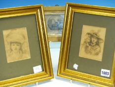 THREE SMALL ANTIQUE AND LATER GILT FRAMED PICTURES, TWO PORTRAITS OF GIRLS AND A SCENE OF