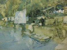 AFTER RUSSELL FLINT. A COLOUR PRINT OF A CANAL SCENE. 32 x 45cms.