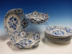 A MEISSEN ONION PATTERN PART DESSERT SERVICE, COMPRISING SEVEN PLATES AND TWO PAIRS OF BOWLS, THE