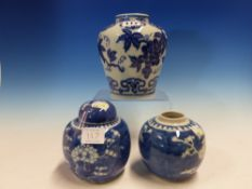 A MING STYLE BLUE AND WHITE JAR PAINTED WITH GRAPES, SIX CHARACTER MARK. H 15cms. TOGETHER WITH A