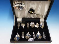 A CASED SET OF HALLMARKED SILVER DESSERT SPOONS AND SERVER.
