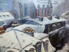 CONTEMPORARY CONTINENTAL SCHOOL. VILLAGE ROOFTOPS, INITIALLED OIL ON BOARD. 30 x 38cms.