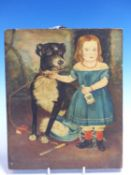 ENGLISH NAIVE SCHOOL. A PORTRAIT OF A GIRL WEARING A BLUE DRESS WITH A LARGE BLACK DOG, OIL ON