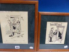 VITALIJS SARKANS (1925-2005), TWO ORIGINAL SAX CARTOONS IN FRAMES, THE LARGEST OVERALL SIZE. H 35.
