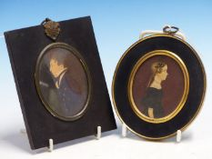 19th.C.ENGLISH NAIVE SCHOOL. AN OVAL MINIATURE PORTRAIT OF A GIRL AND ANOTHER OF A YOUNG MAN,