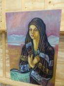 RICHARD TURNERAMON. (1940-2013) ARR. OASIS GIRL AND GIRL OF THE DESERT, BOTH INSCRIBED VERSO, OIL ON