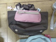 A NEW RADLEY TEFLON TREATED BROWN FABRIC HAND BAG WITH A PINK REMOVABLE POUCH WITH A STRAP TO