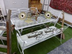 A GOOD QUALITY REGENCY STYLE SET OF WROUGHT IRON GARDEN FURNITURE TO INCLUDE A TABLE, TWO