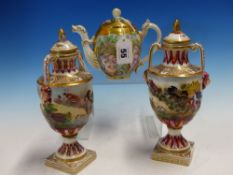 A PAIR OF CAPODIMONTE COVERED TWO HANDLED BALUSTER VASES MOULDED AND PAINTED WITH CLASSICAL FIGURES.