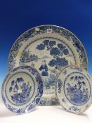 THREE NANKIN BLUE AND WHITE DISHES VARIOUSLY PAINTED WITH GARDENS AND WITH ISLAND SCENES. Dia 26 AND