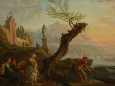 OLD MASTER SCHOOL. AN ITALIANATE CLASSICAL RIVER SCENE WITH FOREGROUND FISHERFOLK, OIL ON CANVAS. 30