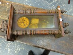 A WURTTEMBURG TYPE WALL CLOCK IN GLAZED VENEERED CASE WITH COLUMN SIDES, THE MOVEMENT WITH