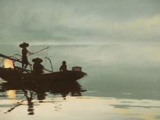 G.WONG. 20th.C.CHINESE SCHOOL. ARR. NIGHT FISHING, SIGNED OIL ON CANVAS. 51 x 60cms.