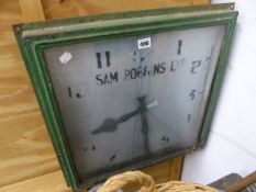 A VINTAGE ADVERTISING WALL CLOCK TOGETHER WITH THREE INDUSTRIAL TYPE HANGING LIGHTS. (4)