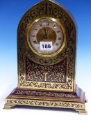 A BOULLE CASED LANCET TOPPED CLOCK WITH PLATFORM ESCAPEMENT. H.28cms.