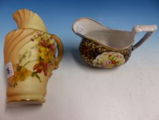 AN EARLY 19th C. MINTON 876 PATTERN SAUCE BOAT TOGETHER WITH A WORCESTER BLUSH FLORAL JUG, DATE CODE