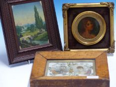 19th.C.CONTINENTAL SCHOOL. A MINIATURE RIVER LANDSCAPE WITH CASTLE, OIL ON BOARD IN CARVED FRAME.