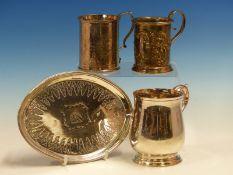 A VICTORIAN HALLMARKED SILVER CHRISTENING CUPS, A LATER CHRISTENING TANKARD, A GEORGE III HALLMARKED