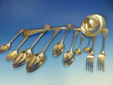 A GOOD 19th C. HALLMARKED SILVER PART CUTLERY SET TO INCLUDE TWELVE SERVING SPOONS, ELEVEN TABLE