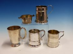 A GROUP OF FOUR 19th C. AND LATER HALLMARKED SILVER CHRISTENING TANKARDS AND A QUAICHE FORM SMALL