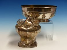 AN ANTIQUE HALLMARKED SILVER OVAL FORM BOWL, DATED 1904 LONDON, HEIGHT 9cms, WIDTH 22cms ,TOGETHER