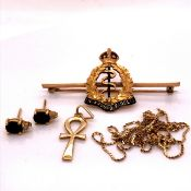 A 9ct GOLD AND ENAMEL ROYAL ARMY MEDICAL CORPS CASED BROOCH TOGETHER WITH A PAIR OF SAPPHIRE AND
