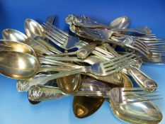 A PART SET OF 19th C. HALLMARKED SILVER KINGS PATTERN CUTLERY,TO INCLUDE TWELVE TABLE FORKS, SIX