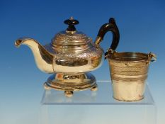 A SMALL 19th C. CONTINENTAL SILVER TEAPOT, TOGETHER WITH A SILVER CREAM PAIL. GROSS WEIGHT 189grms.