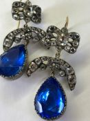 A PAIR OF 19th C. ARTICULATED PASTE EARRINGS. THE LARGE BLUE ARTICULATED PASTE TEARDROPS SET IN