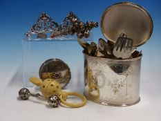 A VICTORIAN SILVER AND CORAL BABIES RATTLE, A SIVLER BELL RATTLE, TWO SILVER PLACE CARD HOLDERS A