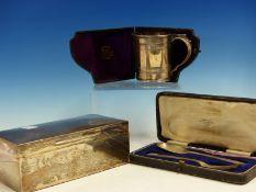 A HALLMARKED SILVER CIGARETTE BOX A VICTORIAN CASED HALLMARKED SILVER CHRISTENING TANKARD AND A