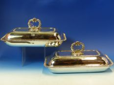 A PAIR OF PAUL STORR RECTANGULAR HALLMARKED SILVER ENTREE DISHES WITH GADROON BORDERS, DATED