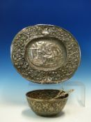 AN ANTIQUE CONTINENTAL EMBOSSED WHITE METAL BOWL TOGETHER WITH TWO CONTINENTAL SPOONS AND AN OVAL