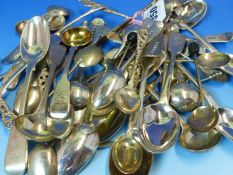 A COLLECTION OF VARIOUS 19th C. AND LATER HALLMARKED SILVER AND PLATED SMALL SPOONS, BUTTER