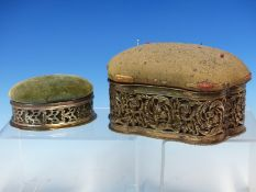 A VELVET PIN CUSHION WITH PIERCED SILVER BORDER HALLMARKED BIRMINGHAM DATED 1901,TOGETHER WITH A