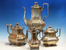 A GOOD VICTORIAN HALLMARKED SILVER FOUR PIECE TEA SERVICE WITH ENGRAVED DECORATION. DATED 1845